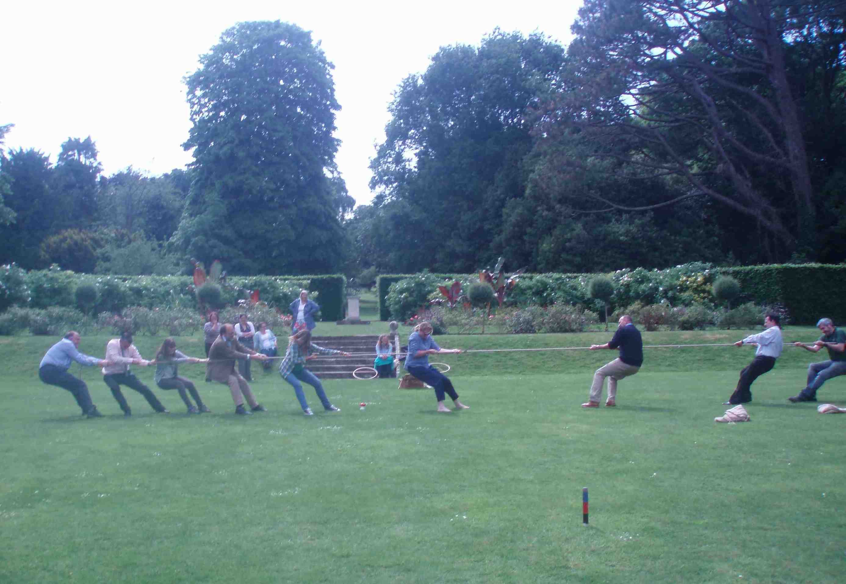 Seriously competitive! English Heritage's Head Gardeners battle out a Tug of War, Walmer Castle, June 2014