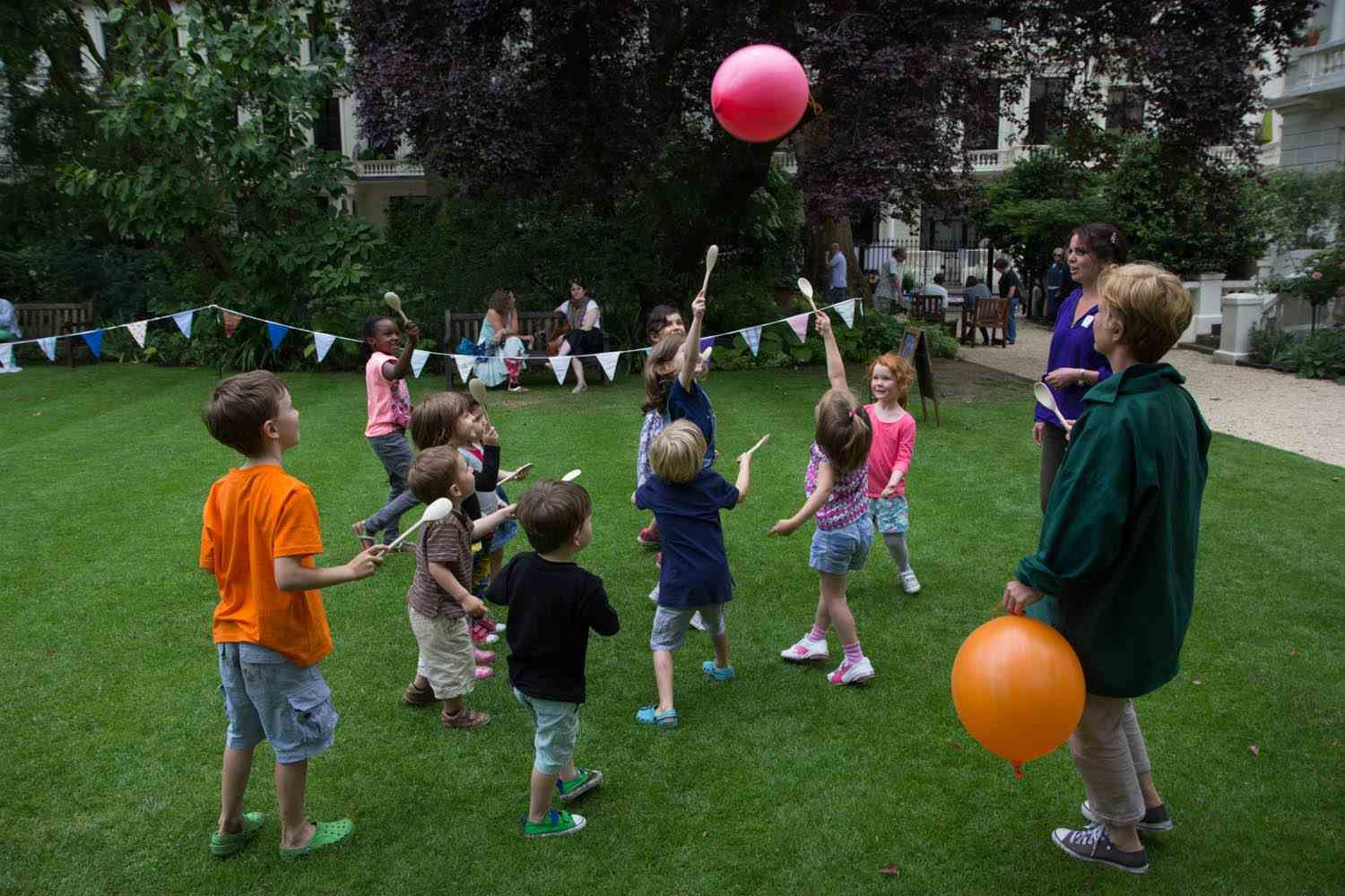 Pig's Bladder game ... but thankfully with balloons! Open Garden Squares Weekend, June 2014